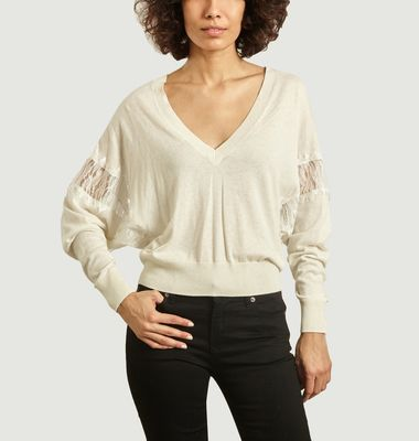 Sorgues cotton, silk and lace sweater