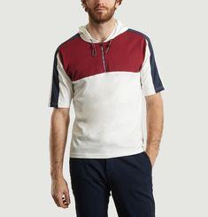 T Shirt Capuche Tricolore Zippé Devant
