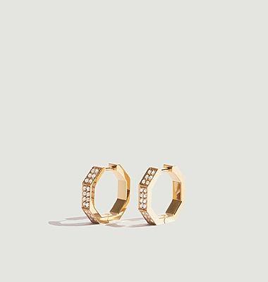 Boucles d'Oreilles Octogone Diamants