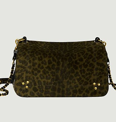 Bobi split leather leopard pattern bag