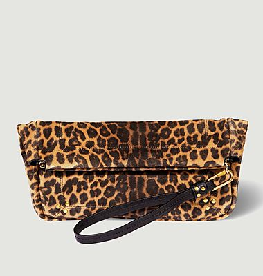 Pochette motif léopard en croûte velours Clic Clac L Soft