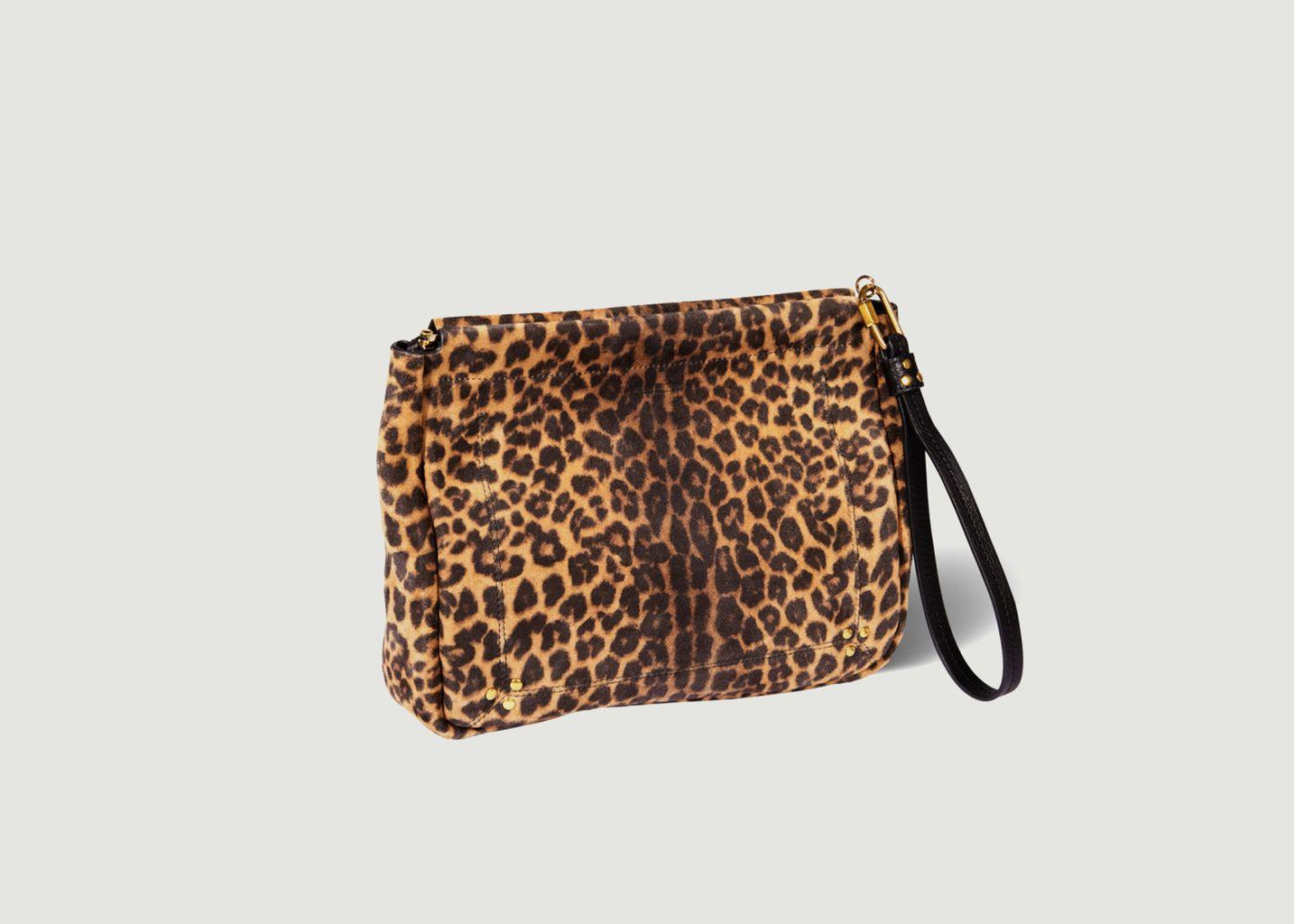 Pochette motif léopard en croûte velours Clic Clac L Soft - Jérôme Dreyfuss