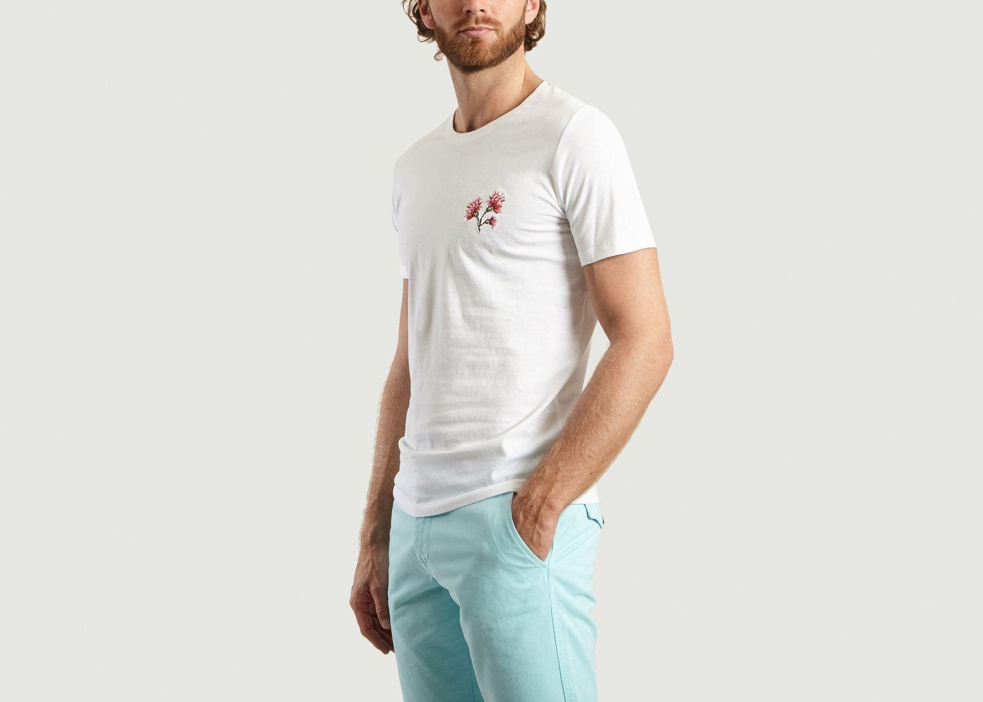 T-Shirt En Coton Bio Brodé Œillets  - Johnny Romance