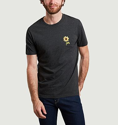 T-shirt en coton bio brodé Tournesol
