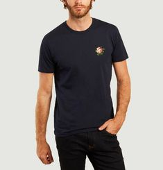 T-shirt en coton bio brodé Rose