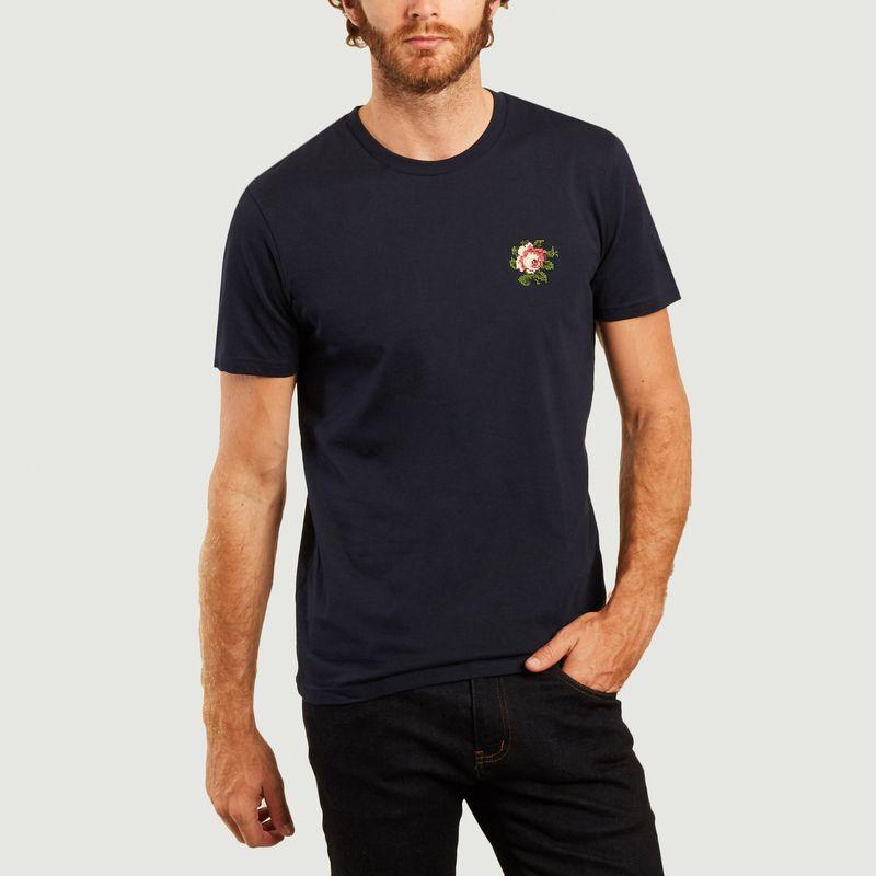 T-shirt en coton bio brodé Rose - Johnny Romance