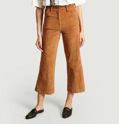 Pantalon 7/8e Flare En Velours Garance