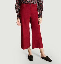 Pantalon Flare 7/8e En Velours Garance