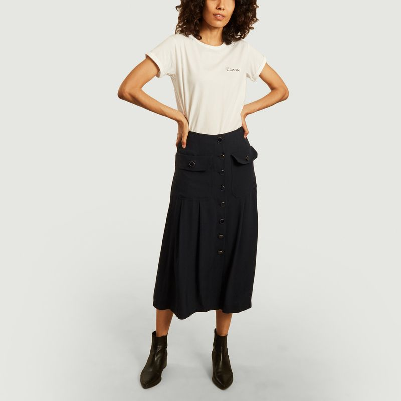 Jupe longue boutonnée à poches Candice - Jolie Jolie