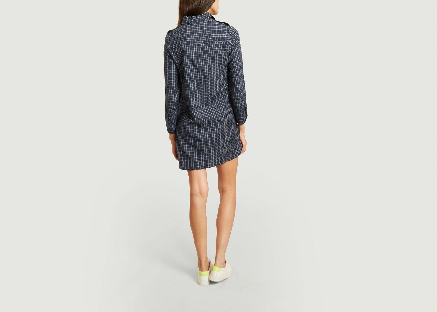 Robe-chemise manches longues à carreaux Paula - Jolie Jolie