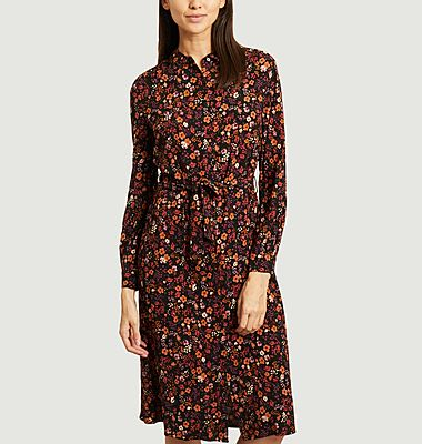 Aurelia flower print midi shirt dress