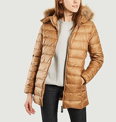 Perle mid-length cold weather hooded down jacket