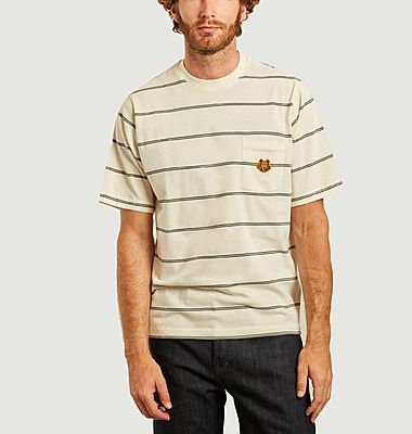Oversized striped t-shirt with logo pocket