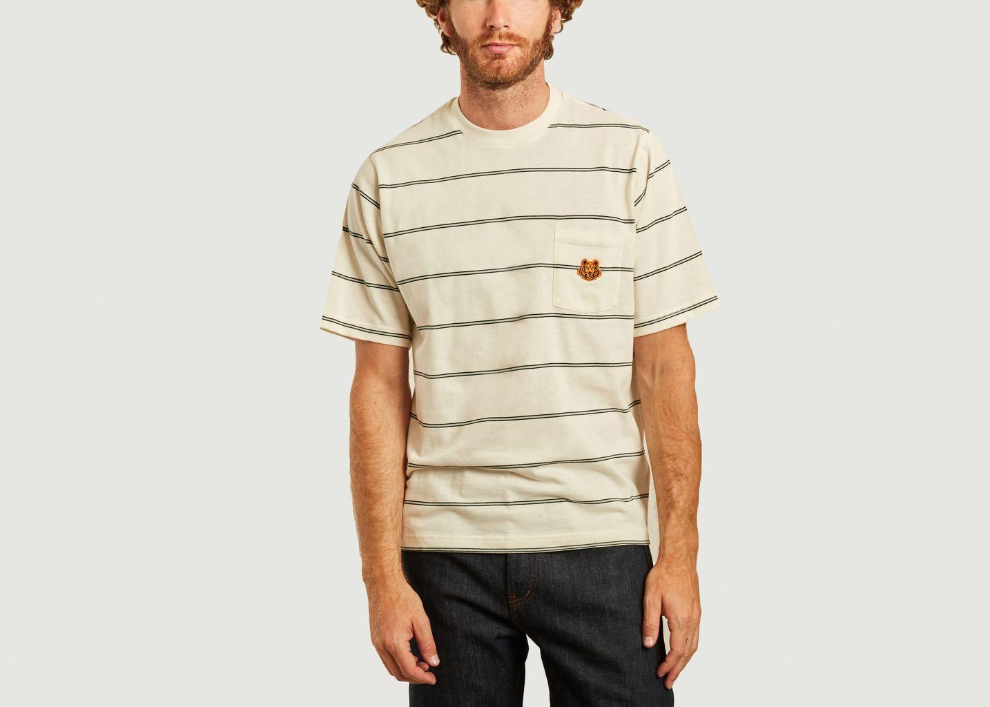T-shirt oversize rayé à poche logotypée - Kenzo