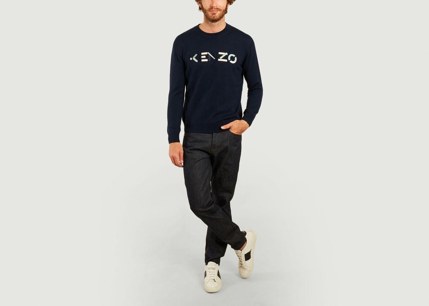 Pull logotypé en laine mérinos - Kenzo