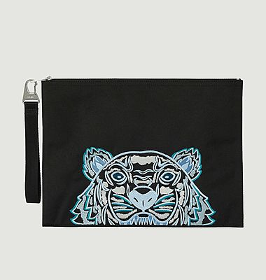 Logo large document holder zipped canvas pouch