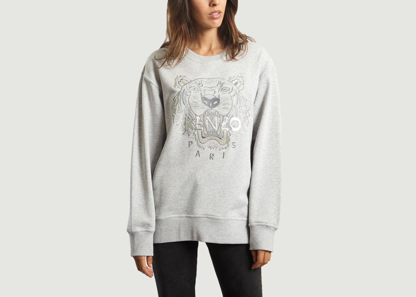 f9781089235 Iridescent Tiger Sweatshirt Light Grey Kenzo Paris