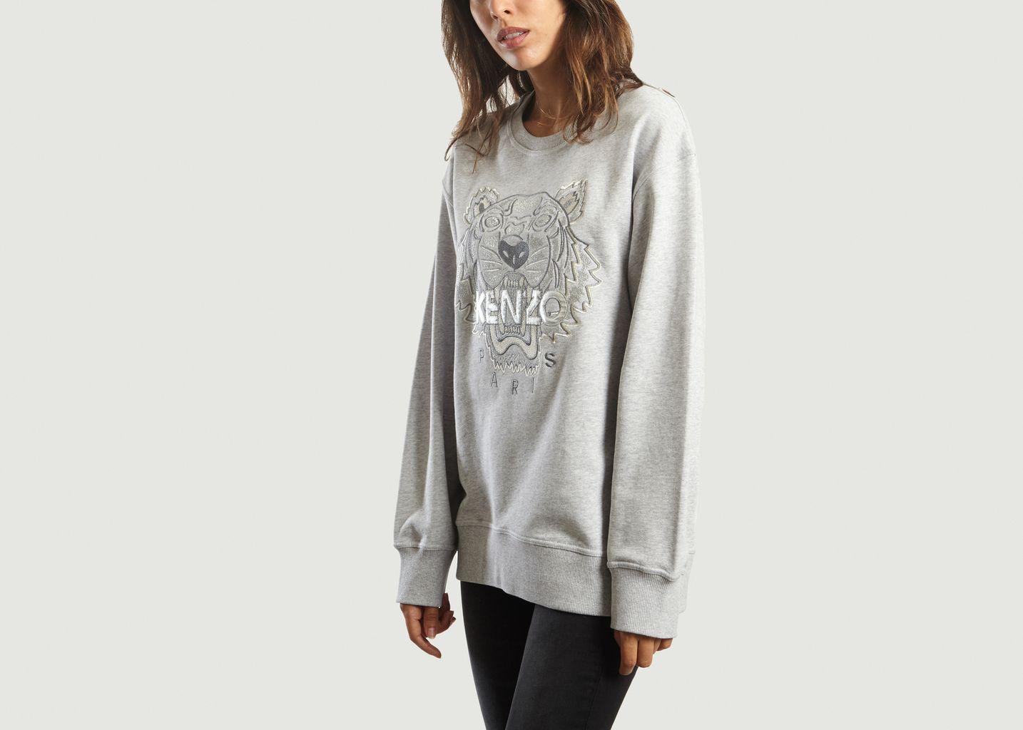 Iridescent Tiger Sweatshirt Light Grey Kenzo   L Exception f81eaf76ca1
