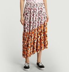 Asymmetric Jackie Flowers Skirt