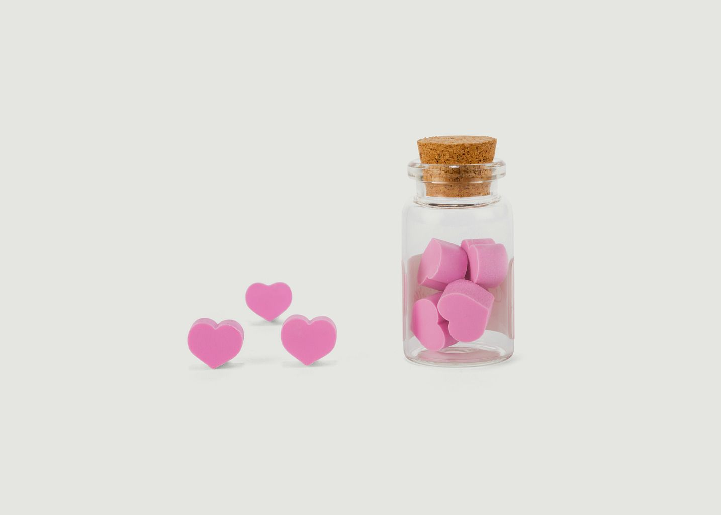Set de 8 Gommes Cœurs Parfumées 'Rose' - Kikkerland