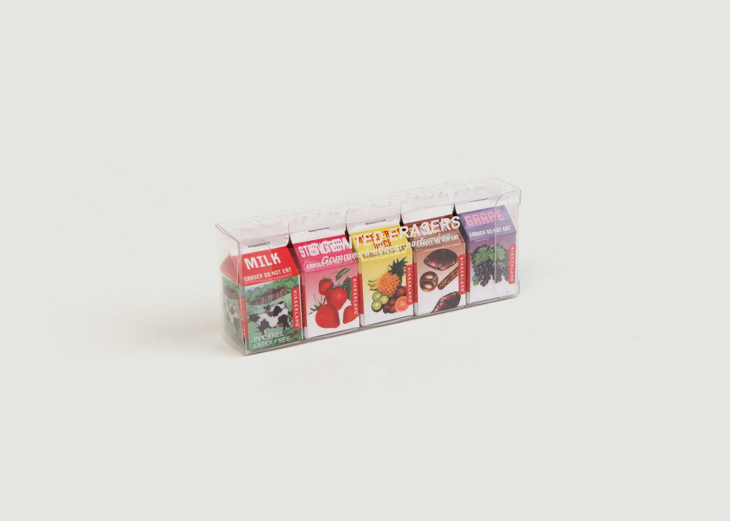 Set de 5 Gommes Parfumées 'Briques de lait' - Kikkerland