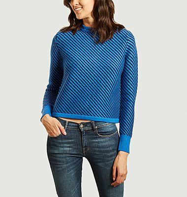Pull en laine mérinos à rayures diagonales