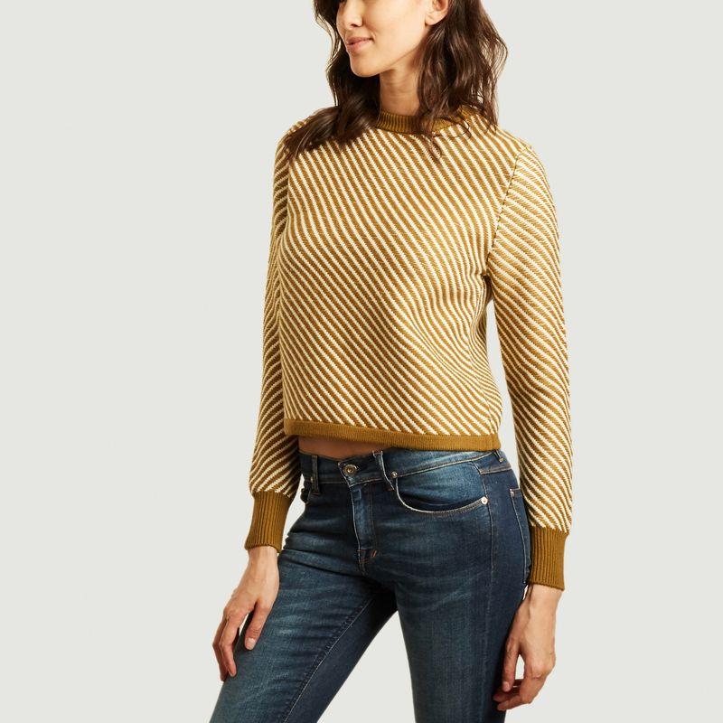 Pull en laine mérinos à rayures diagonales - King & Tuckfield