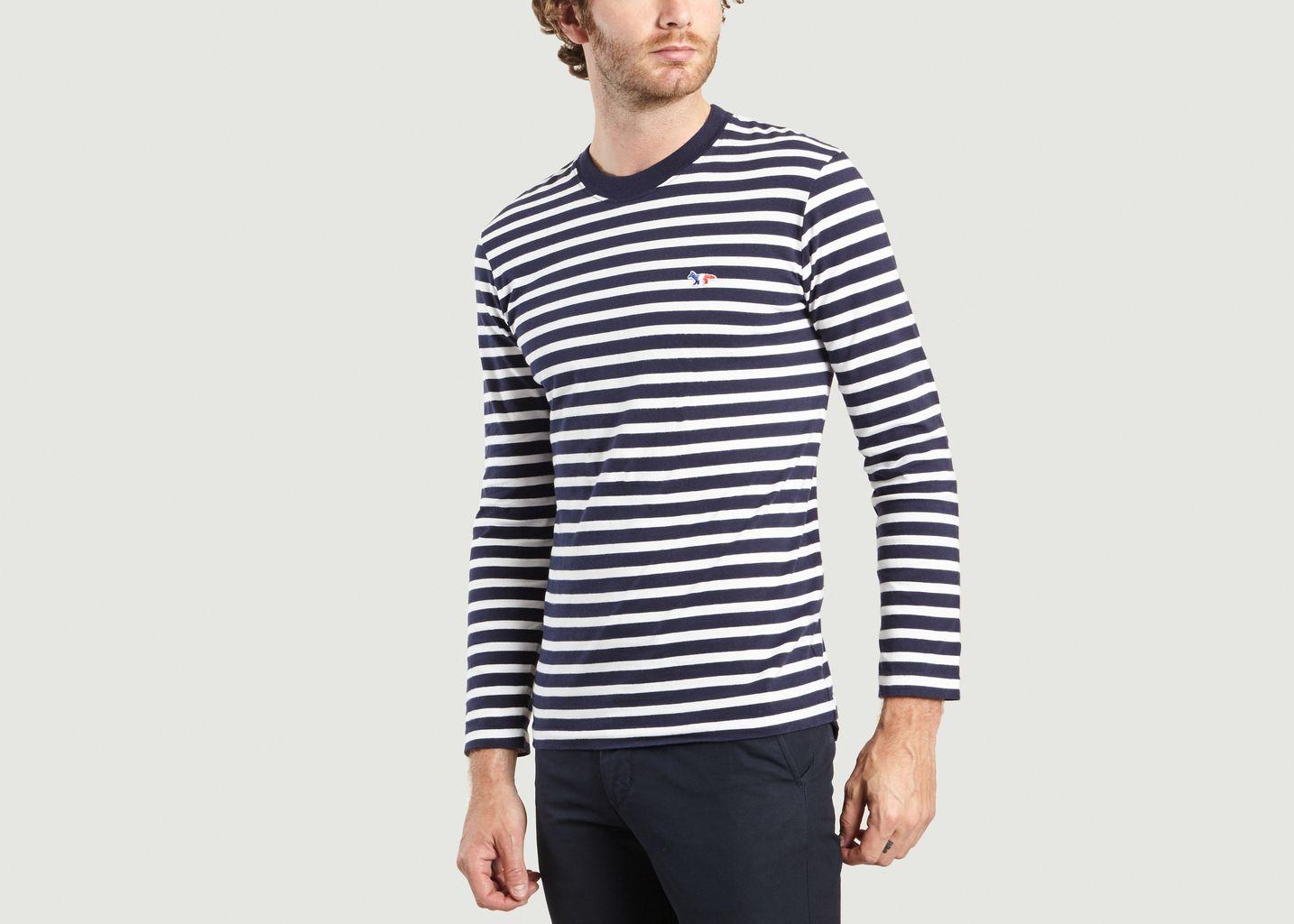T-Shirt Rayé Renard Tricolore - Maison Kitsuné
