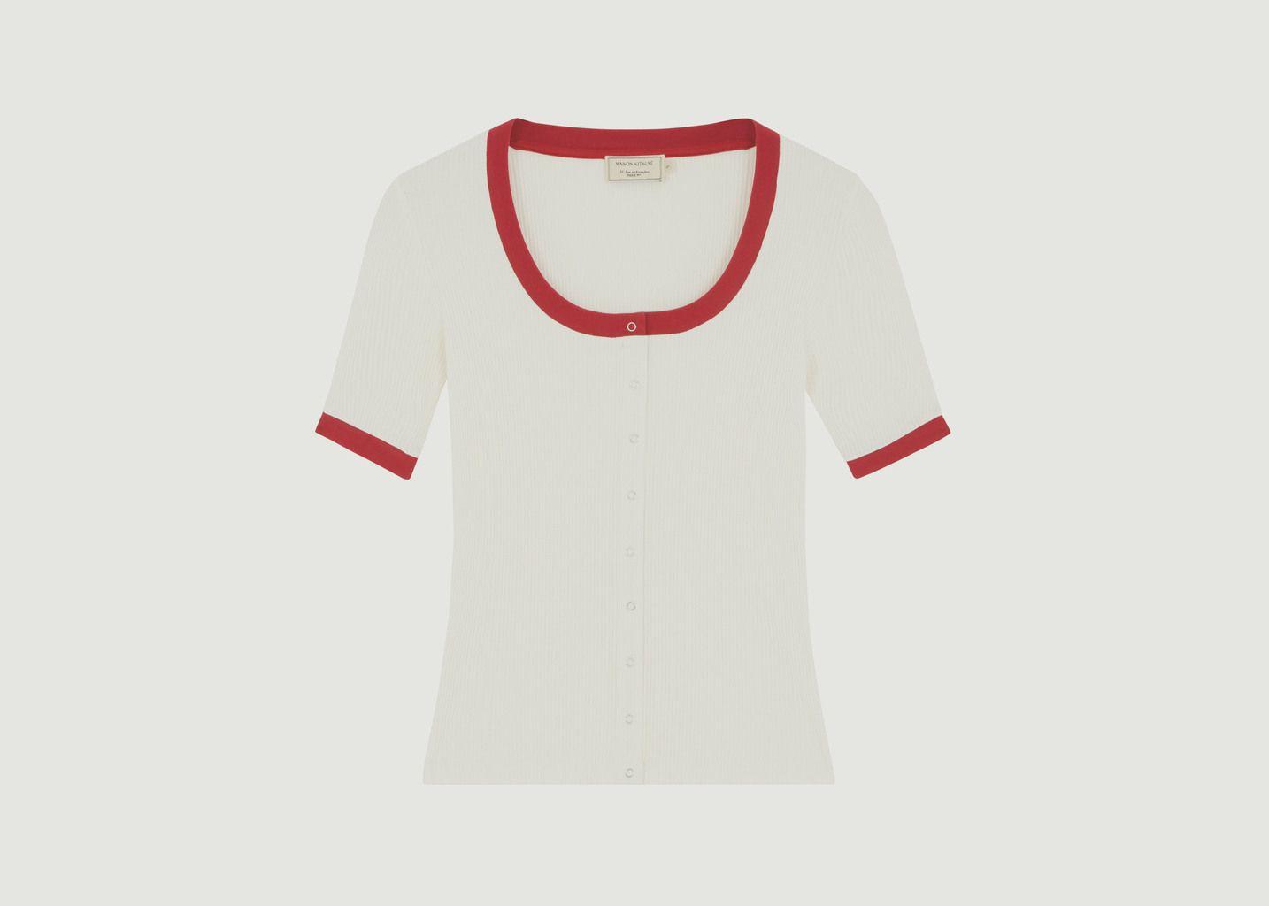 T-Shirt Buttoned Piqué - Maison Kitsuné
