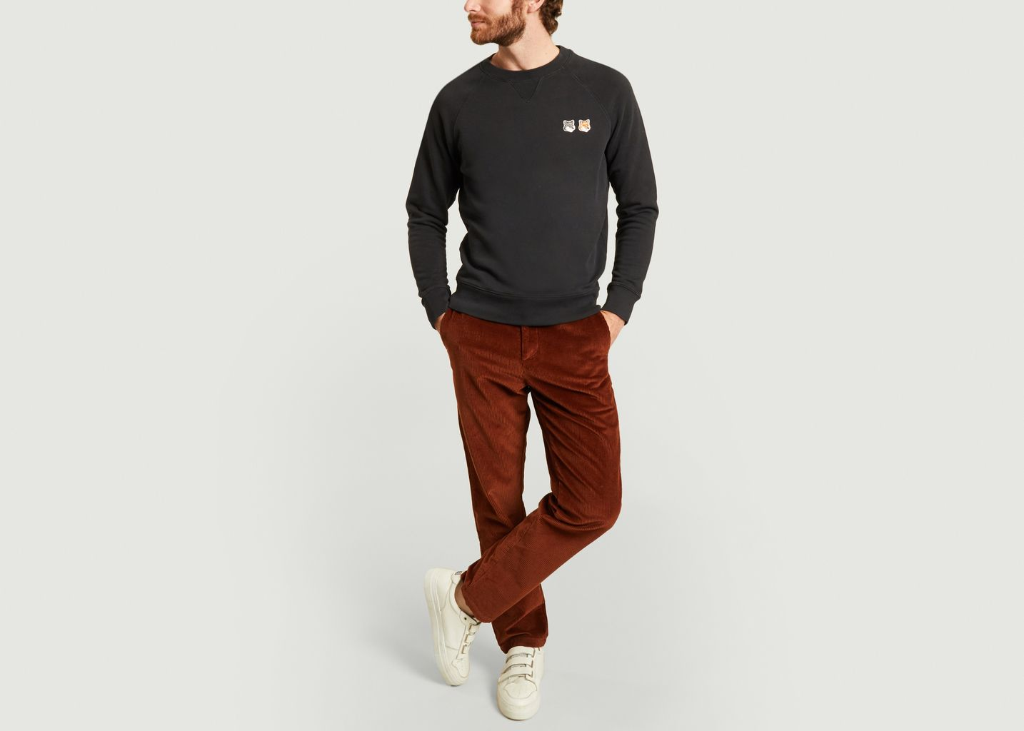 Sweatshirt en coton avec double logo - Maison Kitsuné