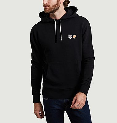 Double fox logo cotton hoodie