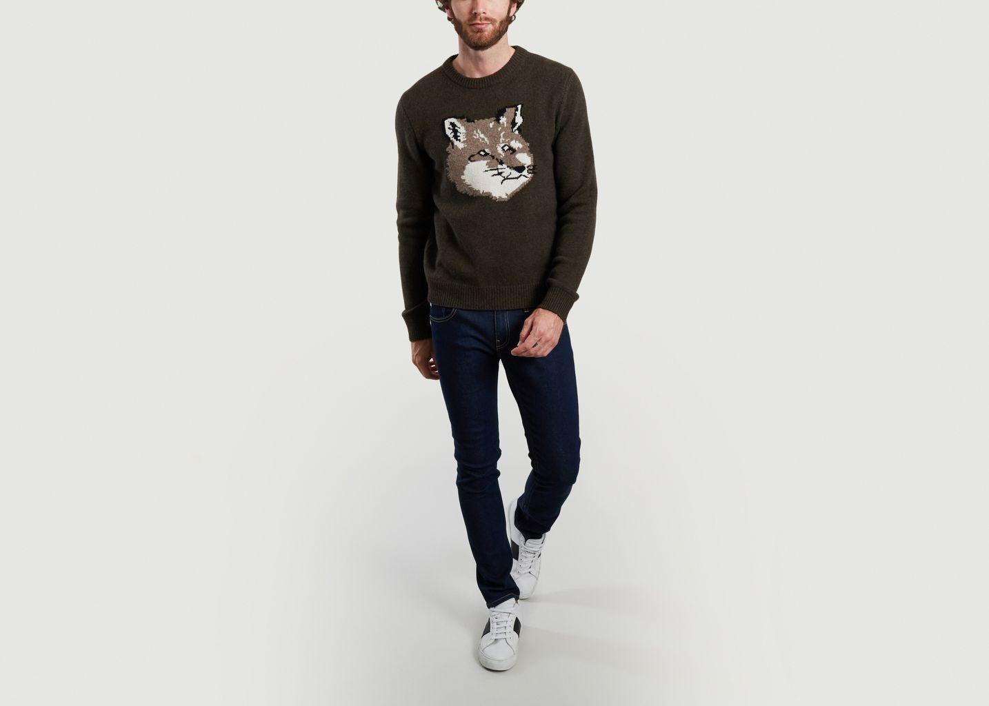 Pull en laine d'agneau logotypé Fox Head - Maison Kitsuné