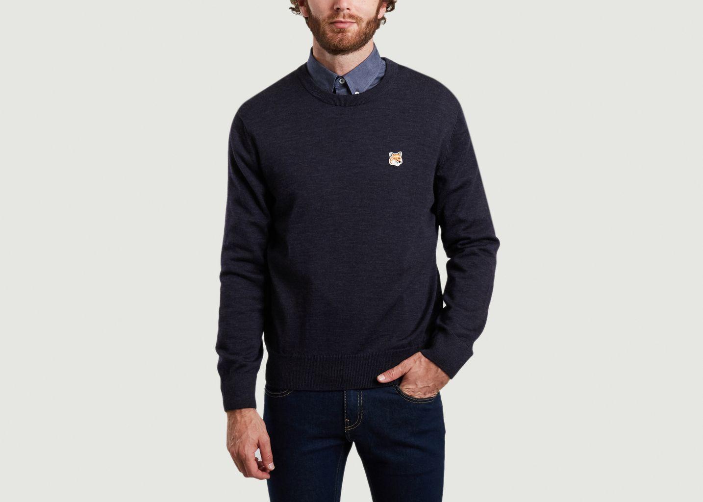 Pull siglé en laine mérinos - Maison Kitsuné