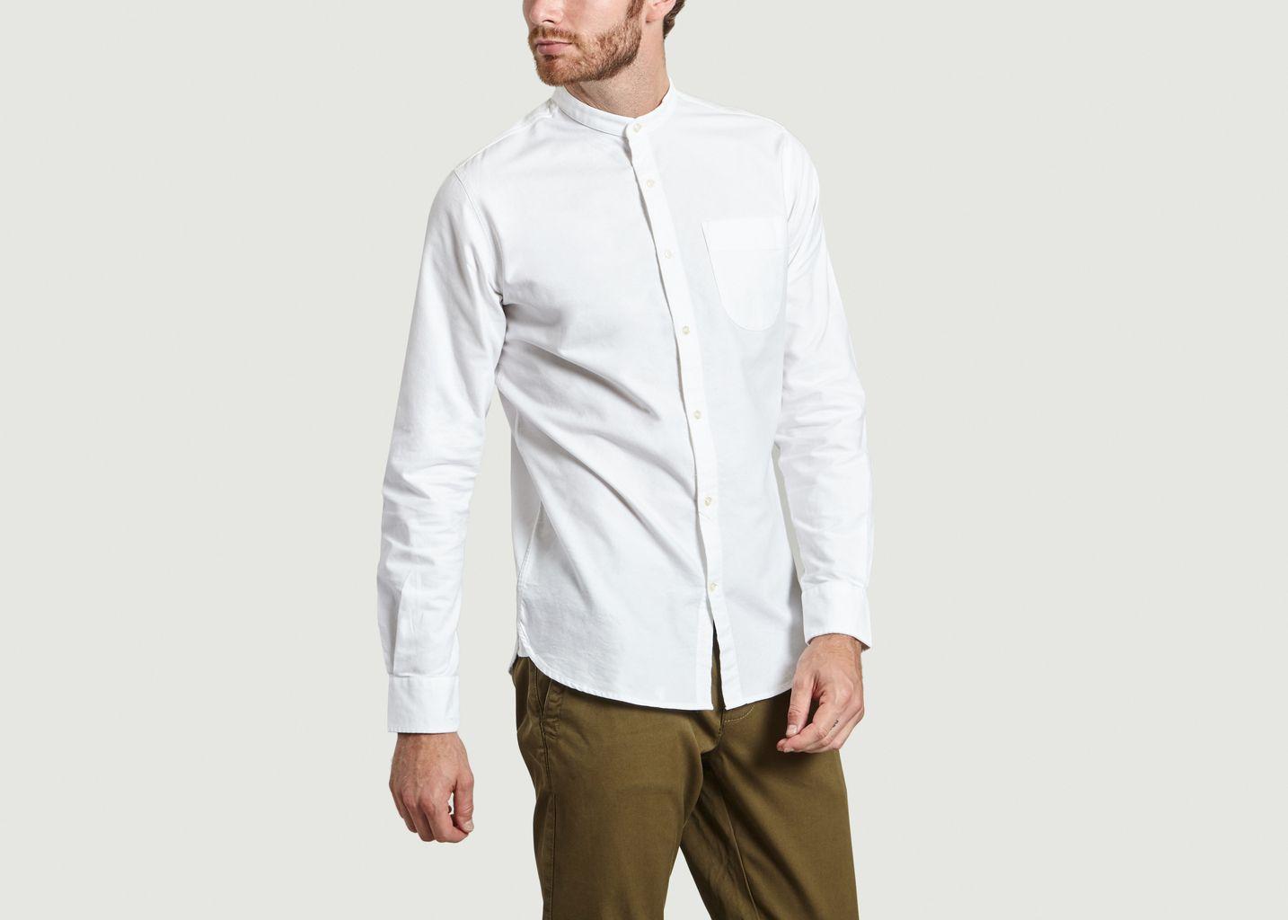 chemise col rond knowledge cotton apparel blanc l 39 exception. Black Bedroom Furniture Sets. Home Design Ideas
