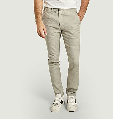 Pantalon droit en coton bio et lin Chuck