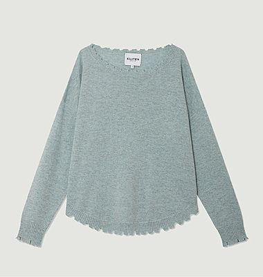 Mela cashmere sweater with cut edges