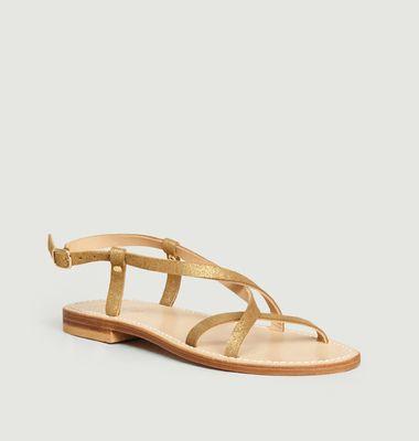 Sandales en cuir de veau irisé Belle Ile