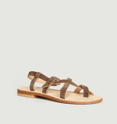 Sandales en cuir suédé Croisette