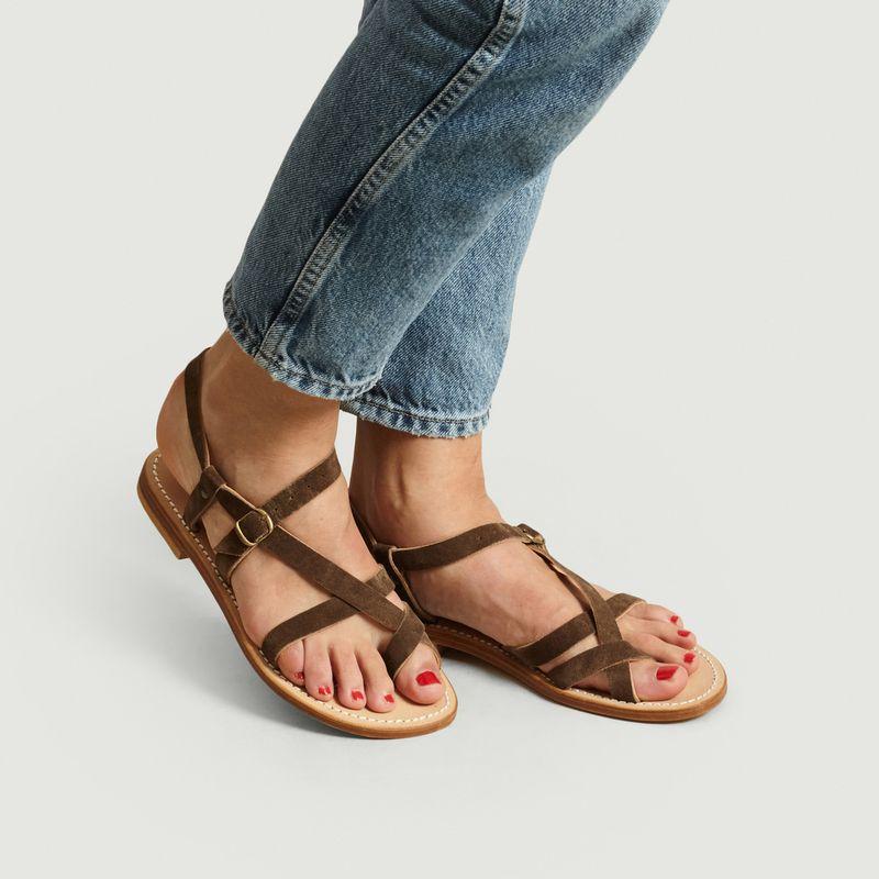Sandales en cuir suédé Croisette - La Botte Gardiane