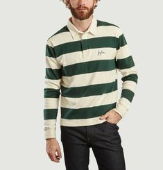 Fighter Long Sleeves Embroiderd Striped Polo Shirt