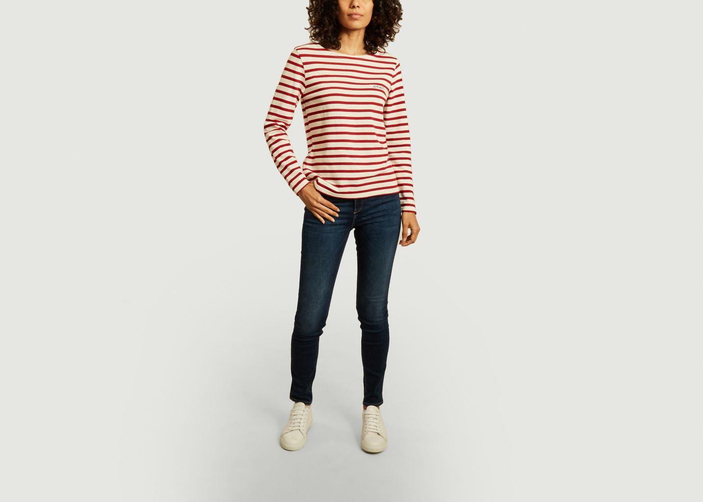 T-shirt manches longues marinière amour - Maison Labiche