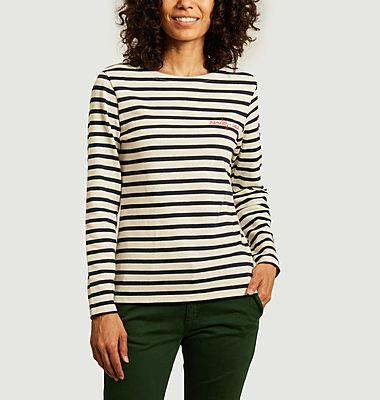 T-shirt manches longues marinière à lettrage