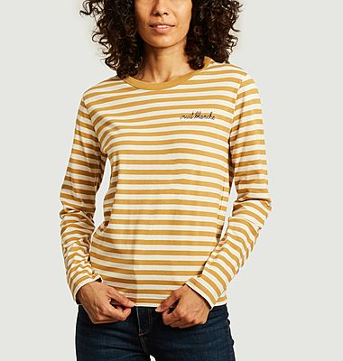 T-shirt manches longues rayé à lettrage