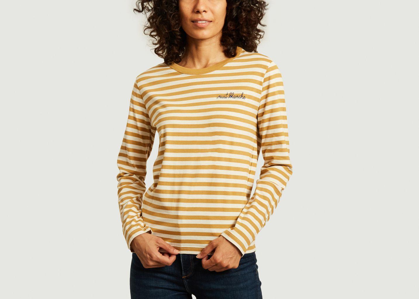 T-shirt manches longues rayé à lettrage - Maison Labiche