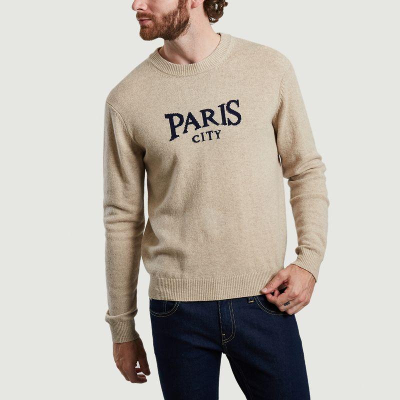 Pull en laine mérinos intarsia Paris City - Maison Labiche