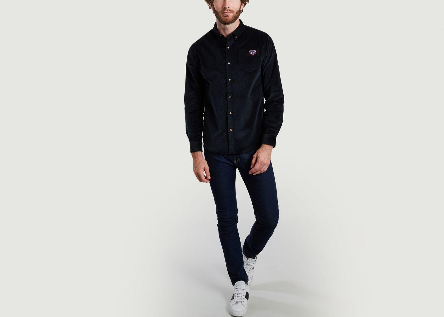 Chemise en velours avec poche à patch - Maison Labiche