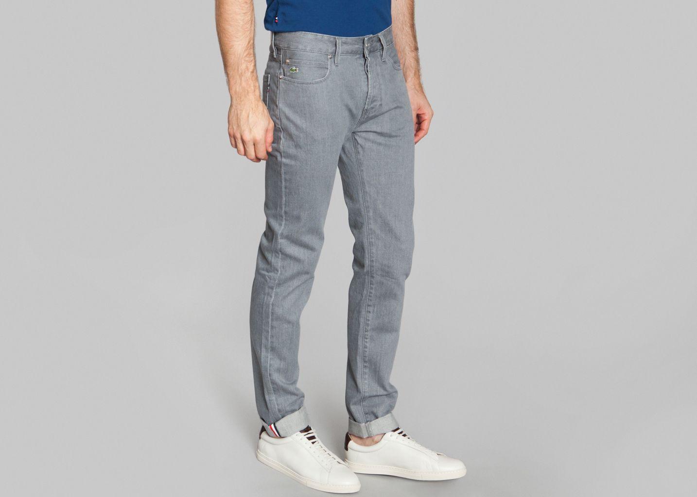pantalon 5 poches lacoste live gris l 39 exception. Black Bedroom Furniture Sets. Home Design Ideas