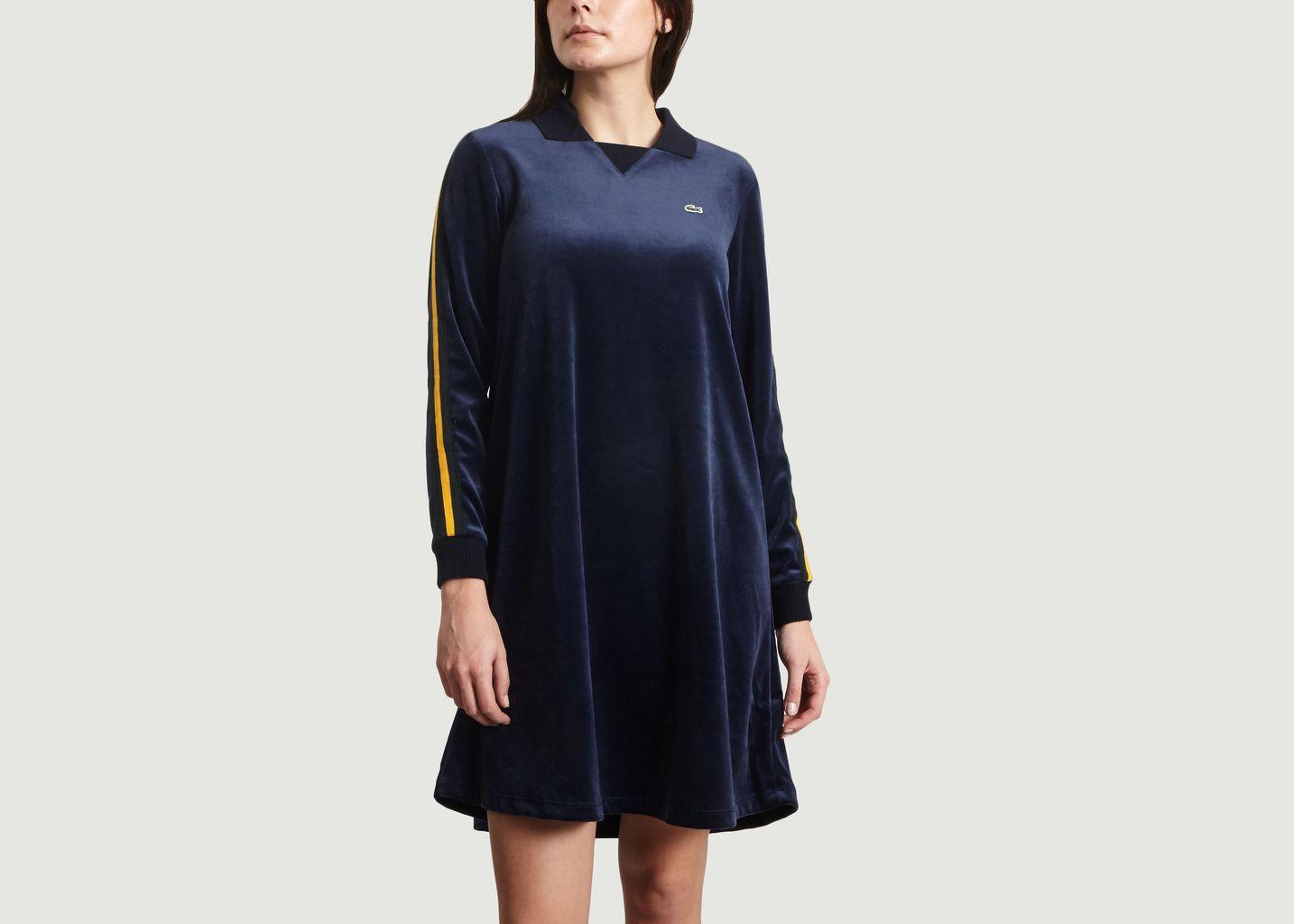 5f83a049443 Robe Polo En Velours Bleu Marine Lacoste Live