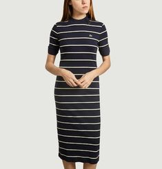 Robe Tube Rayée Manches Courtes