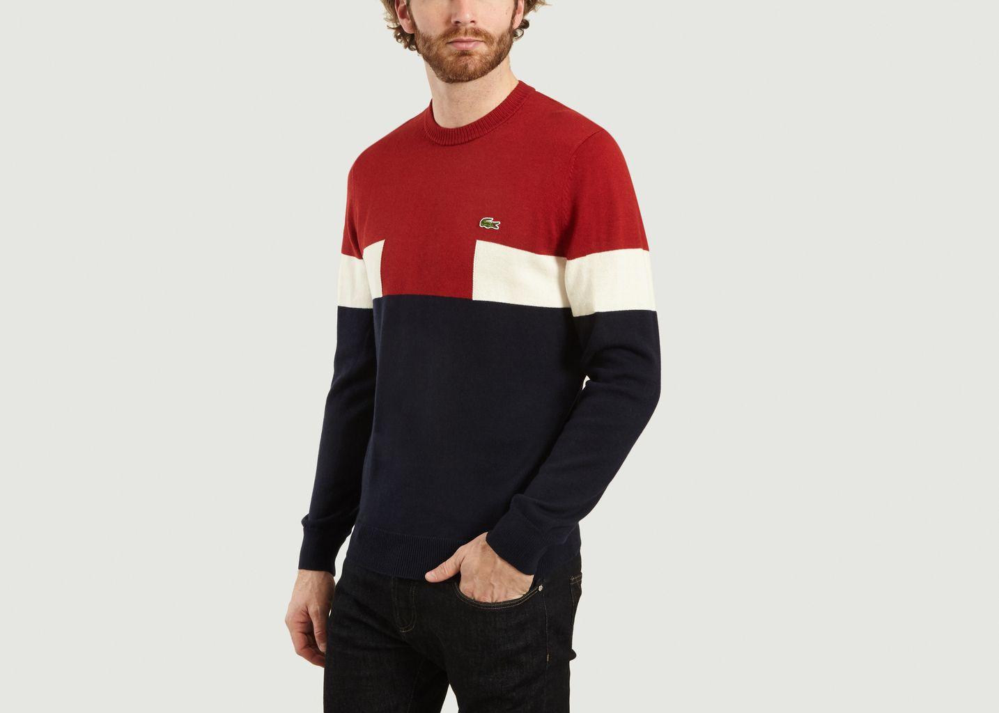 Pull En Coton Et Laine Tricolore - Lacoste